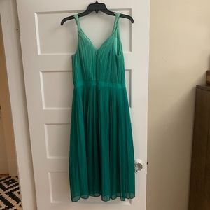 Green ombre pleated dress